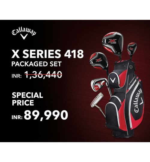 "CALLAWAY X SERIES 418 PACKAGED SET OFFER 12CLUBS & GOLF BAG"" EVERGREEN EXCLUSIVE DEAL PLUS CALLAWAY DELMAR GOLF SHOE FREE  MRP.14990/-"""