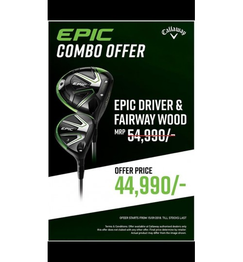 CALLAWAY EPIC DRIVER & FAIRWAY WOOD COMBO OFFER & PLUS FREE CALLAWAY XR UMBRELLA MRP.3990/-