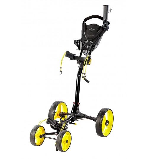 Callaway Trek Push Cart Trek 4-Wheel Compact Push Cart, Black/Yellow