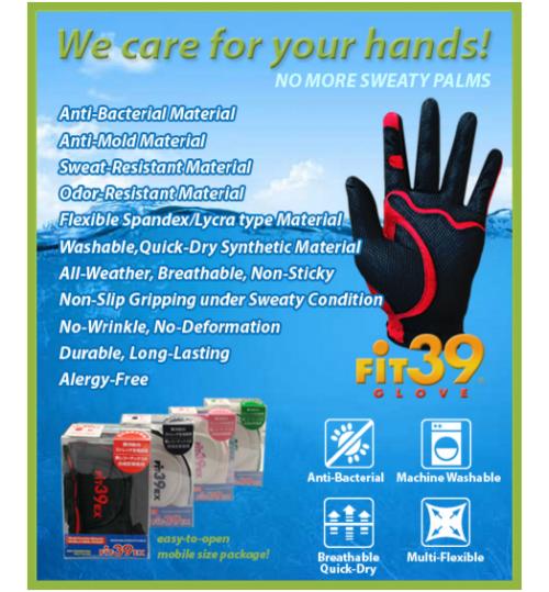 Fit39 EX Japan Golf Gloves (Black/Assorted)